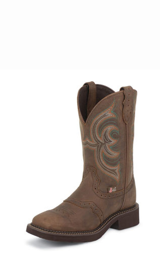 Picture of L9984 Women's Brown Square Toe Justin Gypsy with Tan Pattern Top