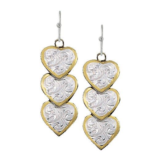 Picture of ER151 Triple Hearts of Silver and Gold Dangle Earrings